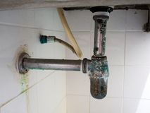 Green rust around the wash basin pipe.Dirty and germs round pipe.  Stock Images