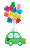 The green's car with balloon's. Royalty Free Stock Photography