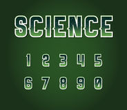 Green 80's Retro Sci-Fi Font Set with Stars Inside Letters. Alph Royalty Free Stock Image