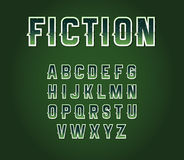 Green 80's Retro Sci-Fi Font Set with Stars Inside Letters. Alph. Abet Vector Stock Images