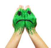 Green sad smile mask painted Royalty Free Stock Photos