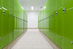 Green safe deposit boxes. Perspective of green safe deposit box in a swimming bath or pool Royalty Free Stock Photography