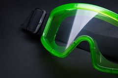 Green safety eye shields Stock Photo
