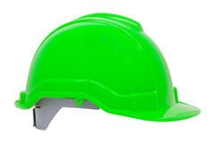 Green safety helmet on white background Stock Photo