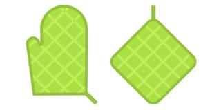 Green Safety kitchen Potholder Stock Image
