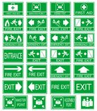 Safety  emergency sign. Green safety sign. Vector emergency exit signs set on green background Royalty Free Stock Photos