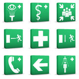 Green Safety Signs - Set 01. Green safety signs on a white background. Part of a series Royalty Free Stock Photography