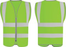 Green safety vest. Front and back view, vector illustration Royalty Free Stock Image