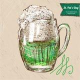 Green Saint Patrick's Day  beer. Royalty Free Stock Photo