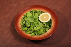 Green salad. Served with lemon on a plate Royalty Free Stock Images