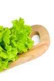 Green salad. Leaves on chopping board Royalty Free Stock Image