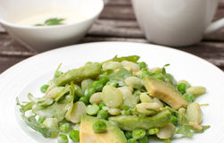 Green salad with avocado, arugula and snow peas Royalty Free Stock Photo