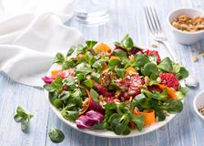 Green salad with blood oranges, carrots, beets, seeds and nuts. On a light blue background, free space. Delicious healthy food stock photos