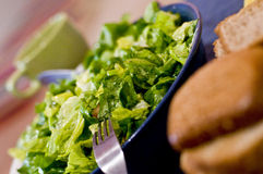 Green salad and bread. Green lettuce salad in a bowl with bread on the side Stock Photos