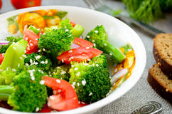 Green salad with broccoli, tomato and sesame seed Stock Images
