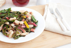 Green salad with chard and cannellini beans Royalty Free Stock Images
