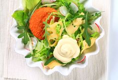 Green salad with cheese Royalty Free Stock Photo