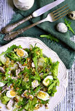 Green salad with chicken,apple and eggs. Stock Photos