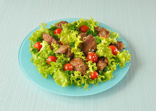 Green salad with chicken liver Royalty Free Stock Image