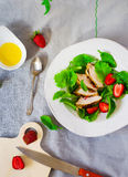 Green salad with chicken and strawberry Royalty Free Stock Photography