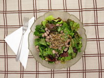 Green salad from chicory, bean and sunflower seed Royalty Free Stock Photography