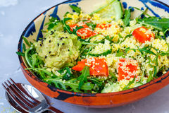 Green salad with couscous