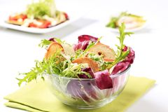 Green salad with crostini and cheese Stock Image