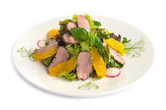 Green salad with duck fillet Royalty Free Stock Images