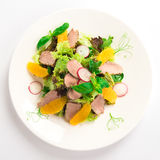 Green salad with duck fillet Royalty Free Stock Photos