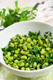 Green salad with edamame and parsley Royalty Free Stock Photo
