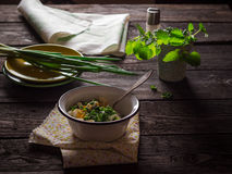 Green salad with eggs Royalty Free Stock Photography