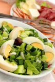 Green salad with eggs Royalty Free Stock Images