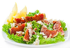 Green salad with figs, cheese and walnuts Stock Images