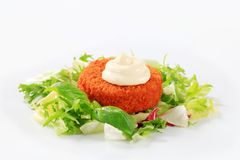 Green salad with fried breaded cheese Stock Images