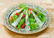 Green salad with gorgonzolla and strawberry Stock Image