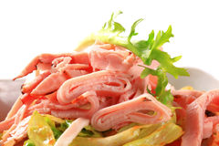 Green salad with ham Royalty Free Stock Photo