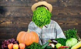 Green salad. harvest festival. bearded mature farmer. organic and natural food. halloween. seasonal vitamin food. Useful. Fruit and vegetable. man chef with stock image