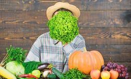Green salad. harvest festival. bearded mature farmer. organic and natural food. halloween. seasonal vitamin food. Useful royalty free stock photo