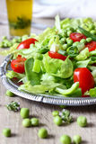 Green Salad. Healthy vegetarian green salad with green peas Stock Image