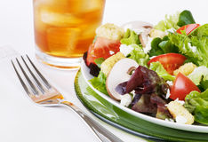 Green Salad And Iced Tea Stock Photo