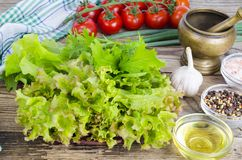 Green salad ingredients organic lettuce, cherry tomatoes, spices and olive oil on wooden background. royalty free stock images