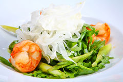 Green salad with king prawns Royalty Free Stock Image