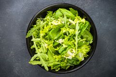Green Salad Leaves Mix On Black Top View. Royalty Free Stock Photos