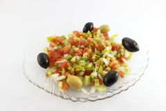 Green salad with olives Royalty Free Stock Photos