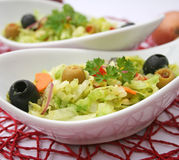 Green salad with olives Royalty Free Stock Images