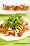 Green Salad With Peaches, Blue Cheese And Ham. Green salad with peaches blue cheese and ham Royalty Free Stock Photography
