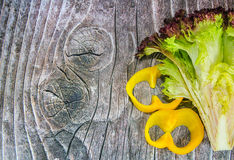Green salad and pepper. In the shape of digit 8 for Woman's day stock photos