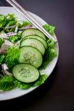 Green salad on plate stock photo