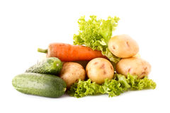 Green salad, potatoes, cucumbers and carrots Royalty Free Stock Images