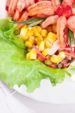 Green salad with prawns and corn Stock Photography